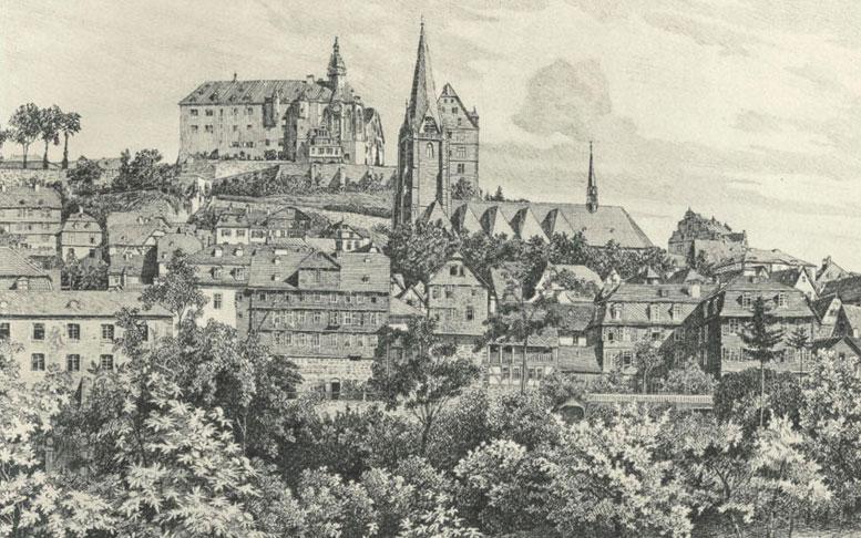 Historischer Blick auf Marburg